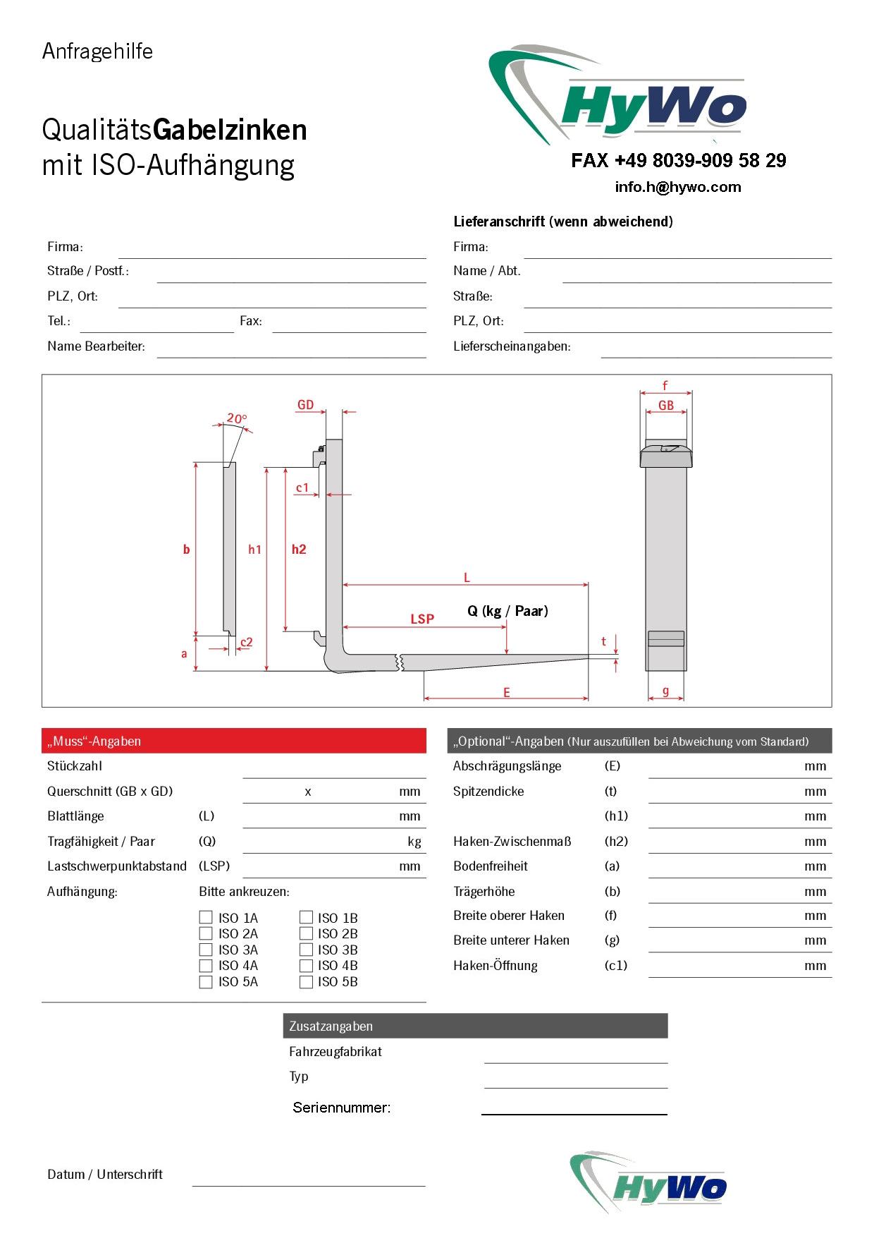 Gabelzinken ISO- Auswahlhilfe